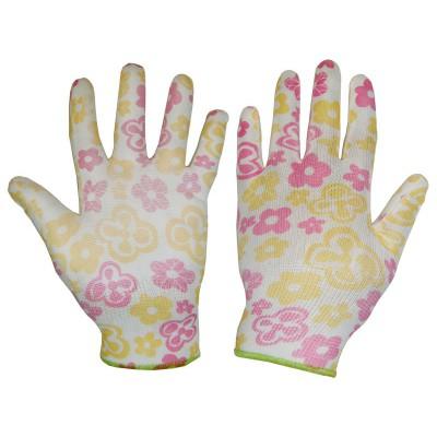 Перчатки нейлоновые с ПОЛИУРЕТАНОВЫМ покрытием (цветочки)