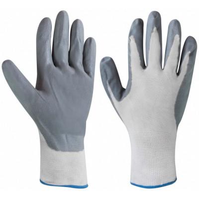 Перчатки нейлоновые с НИТРИЛОВЫМ покрытием (серые)